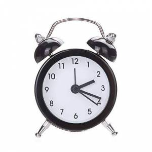 LEEDY Double Bell Silent Alloy Stainless Steel Metal Alarm Clock Bedroom Living Room Office Time Companion