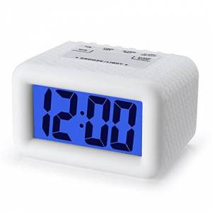 Plumeet Digital Alarm Clock with Snooze and Nightlight Function, Large LCD Display Travel Alarm Clock Easy to Use, Ascending Sound Alarm and Handheld Sized, Batteries Powered (White)