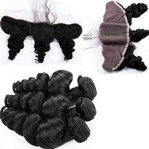 Fureya Hair 8A Unprocessed Brazilian Virgin Hair with Closure Loose Wave 3 Bundles with Lace Frontal Closure