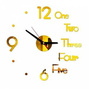 DIY Wall Clock 3D Wall Clock with Mirror Numbers Stickers for Home Office Decorations DIY Wall Clock 3D Mirror Surface Sticker Living Room Bedroom Decor Clock Christmas New Year Gift (Gold)