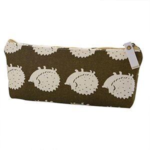 Doitsa Canvas Pencil Case Stylish Linen Portable Pen Storage Bag Makeup Organizer Coin Purse for Student Teenage Girl Boy Gift 19.5cm*8.5cm*3.5cm Hedgehog