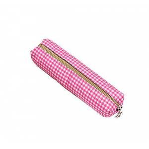 Monbedos 1 PCS Pencil Case Cosmetic Bag Checkered Pencil Bag Stationery Bag for Boys Girls School Students size 10.5x10.5x8cm (Pink)