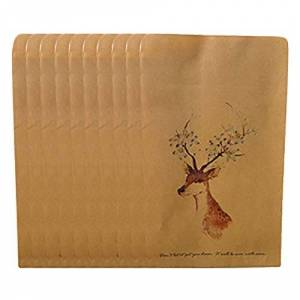 Gespout 10 X Vintage Deer Pattern Kraft Paper Envelope for Invitations Writing Post Cards Gifts