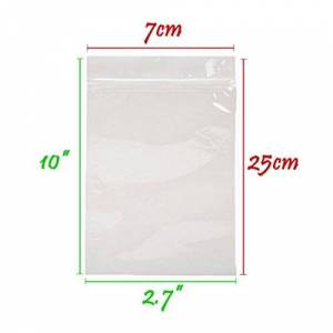 7x25 cm (2.7x10 inches) Grip Seal Zip Lock Polythene Self Resealable Clear Plastic Bags x 5
