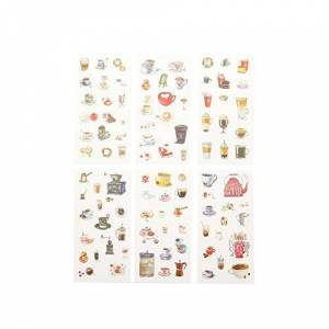 Kanggest 6 Pcs Diary Stickers Coffee Pattern Calendar Stickers Drink Envelope Decoration Photo Journal Albums Notebook Decoration Scrapbooking Washi Paper