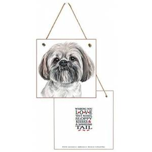Lhasa Apso Dog Lovers Gift. Hanging wooden Greetings Card, Birthday Card + Free Air Freshener. It's a card and a gift all in one. For Dog Lovers, Friends or From the Dog.