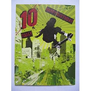 SUPER COLOURFUL SKATEBOARDER HAPPY BIRTHDAY 10 TODAY 10TH BIRTHDAY GREETING CARD