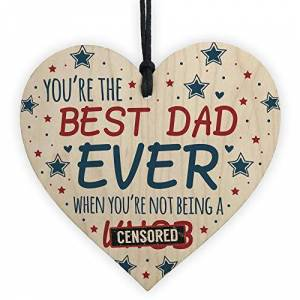 RED OCEAN FUNNY Rude Birthday Gifts For Dad Gift Wooden Heart Funny Dad Birthday Fathers Day Card