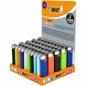 BIC Maxi Flint Lighters - Assorted Colours, 50 Lighters