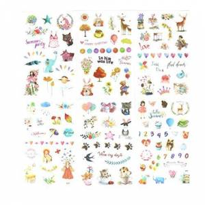 Kanggest 6 Sheets Cake Diary Stickers Digital Playground Pattern Calendar Stickers Washi Paper DIY Decoration Journal Albums Notebook Decoration Scrapbooking(A)
