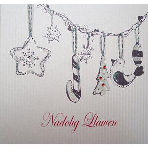 WHITE COTTON CARDS Nagolig Llawen, Handmade Welsh Christmas Card (Code WEX3)