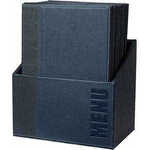 Securit Trendy Range Menu Box with 20 A4 Menu Cards with1 Double Insert, Blue