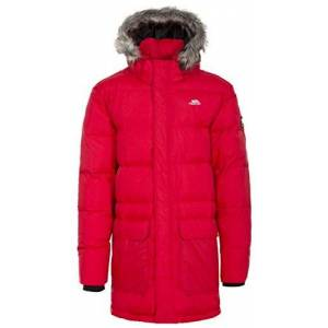 Trespass Baird, Red, S, Warm Down Jacket with Removable Hood for Men, Small, Red