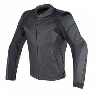 Dainese-FIGHTER PERF. Leather Jacket, Black/Black, Size 52