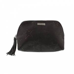 Superdry Make Up Bag In Black Leather, Toiletry Bag, Women.