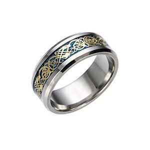 Xshuai® Fashion Women Men Silver Golden Plated Celtic Dragon Punk Rings Tungsten Carbide Wedding Band Ring Jewelry Size l n p r t (Blue, 12)
