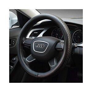 Niceday Steering Wheel Protector, Women Girls Genuine Leather Car Automotive Steering Wheel Cover, for Audi Anti Slip 38cm (Color : Black)