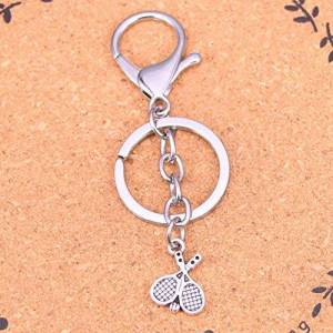 TAOZIAA Fashion Silver Color Alloy Metal Pendant tennis racket Key Chain Key Ring Gift For Car Keychain Accessory