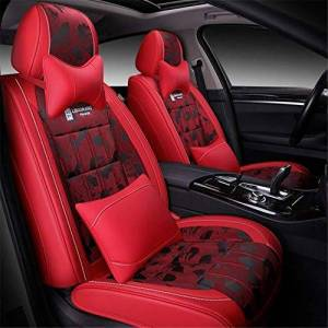 IMBM Car Seat Cushions Full Set PU Leather Universal Car Seat Covers Sets with Airbag Compatible Automotive Accessories Interior Fits All Cars (Size : Red)