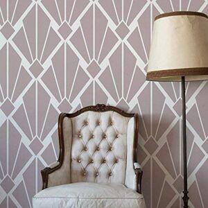 Art Deco Vintage Diamond Pattern Stencil   Home Wall Decorating Art & Craft Stencil   Paint Walls Fabrics & Furniture   190 Mylar Reusable Stencil (M/ 25X33CM)