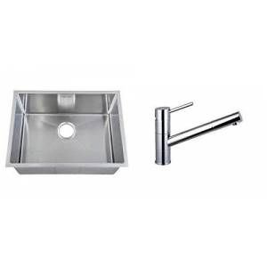 Grand Taps Set of 590 x 440mm Rounded Corners Handmade Satin Stainless Steel Undermount Kitchen Sink and Pull Out Spout Tap (KST162)