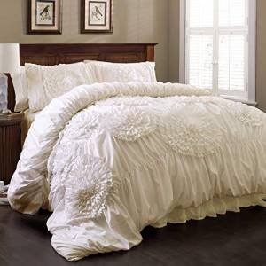 Lush Decor Comforter Set, Ivory, king