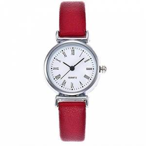 Festiday Womens Quartz Watches, Festiday Fashion Casual Women's Rome Small Dial Thin PU Leather Belt Lady Watches Gift on Sale Clearance Female Wrist Watch for Women Girls Kids Daughter Dress (Red)