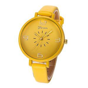 Yuwegr Ladies Watch, Women Fashion Casual Checkered Faux Leather Quartz Analog Wristwatch (Yellow)