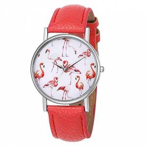 Souarts Women Watermelon Red Artificial Leather Band Pink Swans Round Dial Quartz Analog Wrist Watch 23cm