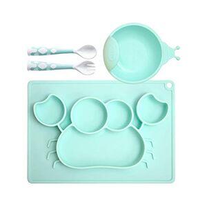 Baby Dinnerware Children Tableware Set Baby Plate Silicone Baby Dishes Bowl Feeding Utensil Spoon Fork Set Travel Safe Case Toddler Kid Training/Plate Set 8