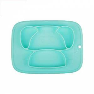 Qshare Baby Plate Feeding Container Placema Tableware Children Food Baby Dishes Infant Feeding Cup Silicone Suction Bowl for Kid New,Cyan