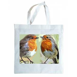 Robin RED Breast Light Weight re-usable Gift Tote Bag Animals of The World Range. Can Be Personalised.