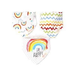 Fansu Baby Bandana Bib Set, 3PCS Absorbent Drooling & Teething Bib Set Lovely 100% Cotton Dribble Drool Bibs Front Saliva Towel Infant Toddler for Boys & Girls (Rainbow)