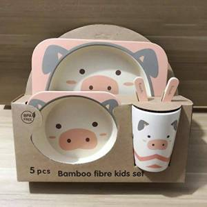 Children's Dishes Baby Feeding Bowl Bamboo Tableware Bamboo Fiber Fork Cup Bowl Spoon Plate Animal Cartoon Baby Plate 5pcs,PJ4036B13
