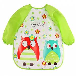 Vektenxi Feeding Apron,Lovely Cartoon Animal Baby Bib Burp Cloth Children Long Sleeve Feeding Apron 3 Durable and Useful