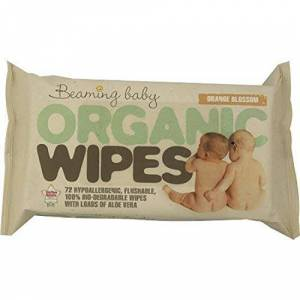 Beaming Baby Biodegradable Organic Baby Wipes Hypoallergenic & Aloe Vera (72 wipes per pack)