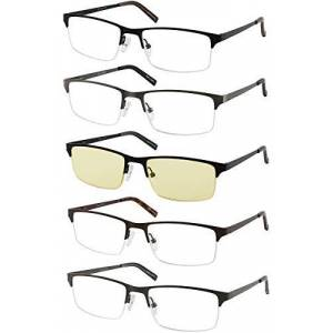 Amcedar 5-Pack Reading Glasses Men Metal Half-Frame Spring Hinges Rectangle Style Stainless Steel Material Includes Computer Readers +1.00
