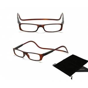TOPSTARONLINE Multi-color Adjustable Magnetic Reading Glasses from +1.00 to +4.00 Diopters (+1.50, Brown)