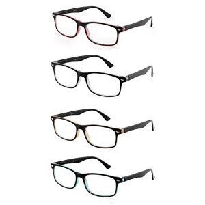 JM Set of 4 Reading Glasses Vintage Rectangular Spring Hinge Readers for Men Women +2.0 Mix Color