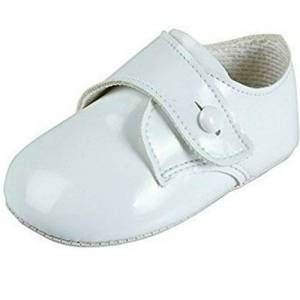 Baby Boys Baypods First Pram Shoes – Gibson with Button Strap Design White Patent UK 0 (EU 16, 0-3 Months)