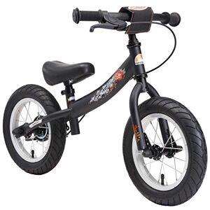 BIKESTAR Running Balance Bike with sidestand and brake for Kids age 3 year old   12 Inch Sport Edition   Black (matt)