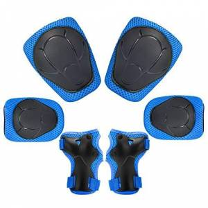 Archir 6 in 1 Kids Knee Pads Set Kit Protective Gear Elbow Pads with Adjustable Wrist Guards Toddler Children Protection Safety for Rollerblading BMX Bike (Color : Blue)