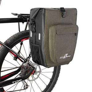LYCAON Bike Pannier Bag, Waterproof TPU Rear Seat Cycling Storage Pouch Bicycle Trunk with Quick-release Buckle and Shoulder Strap, Bag Panniers for Cycling Outdoor Travel Trip (Khaki-1Pack-30L)