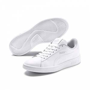 365170_02 Puma Unisex Kid's Smash v2 L Jr Low-Top Sneakers, White, 6 UK