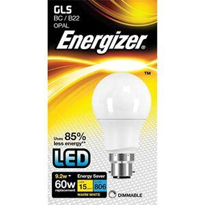 Energizer Dimmable LED GLS Energy Saving Lightbulb, B22, 9.2 W, Warm White