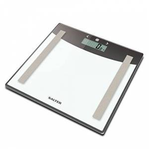 Salter Glass Body Analyser Bathroom Scales, Digital Electronic Scale for Precise Weighing, Easy Read Display Measure Weight Fat Water BMI, Step-On Instant Reading, Metric, Imperial, 15 Year Guarantee