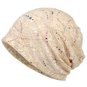 Boboder Women's Chemo Hat Stripe Beanie Hat Cotton Soft Turban Headwear Head Wraps, Beige, One Size