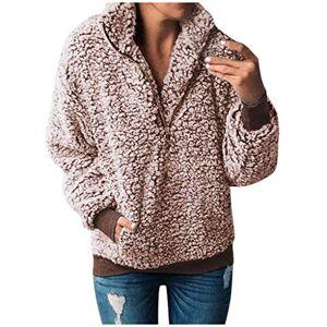 Womens Fleece Pullover Sweatshirt Patchwork Flannel Sweater Ladies Long Sleeve Faux Fur Coat Winter Soft Warm Wool Parka Outwear Tops Khaki