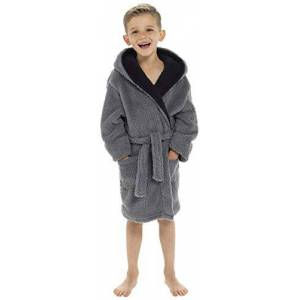 Keanu Boys Kids Shaggy Snuggle Fleece Hooded Dressing Gown Robe -Soft Warm - Grey - 11-12 Years