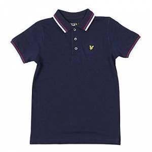 Scott Lyle and Scott Junior - Plain Tipped Polo Shirt, Navy, 10-11 yrs